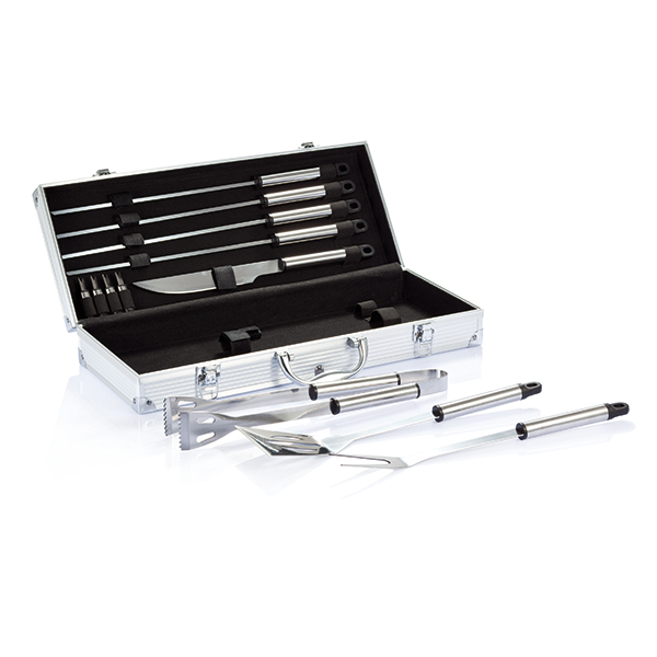 INP422182 Set BBQ 12 pezzi in valigetta di alluminio